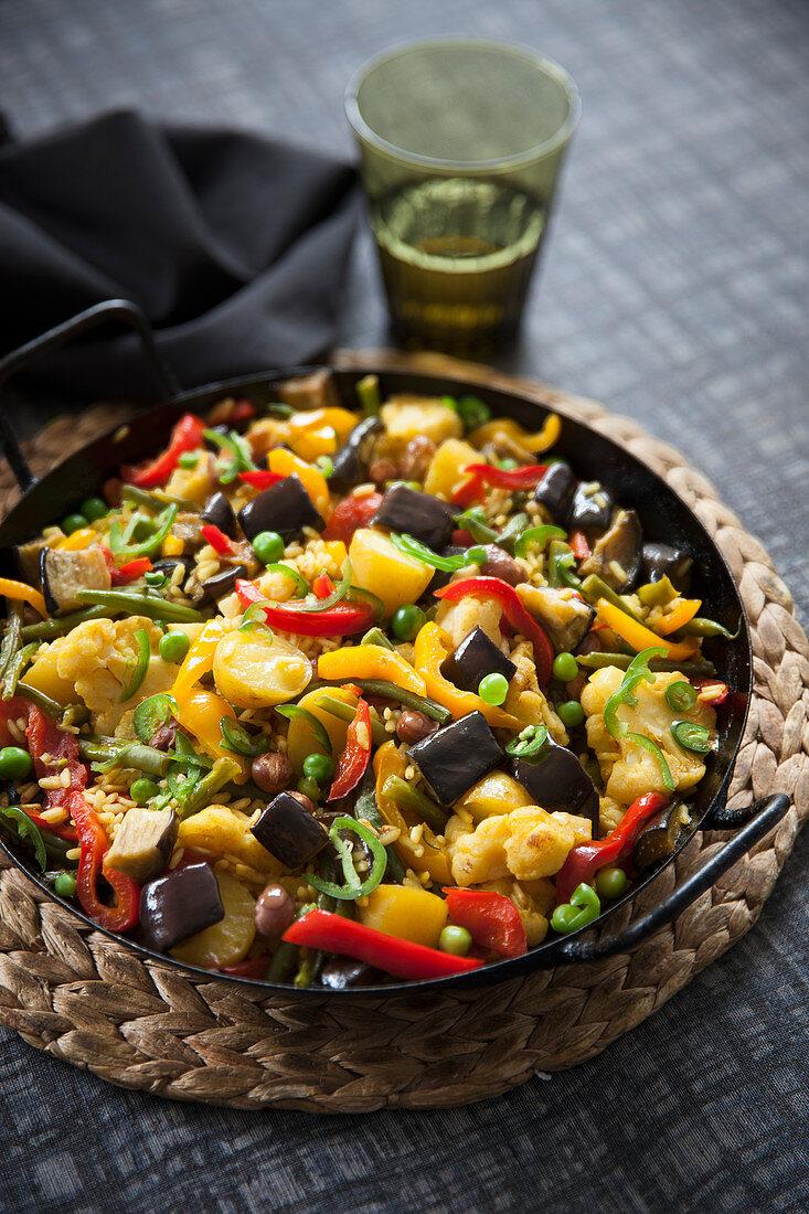 Mediterranean vegetable paella