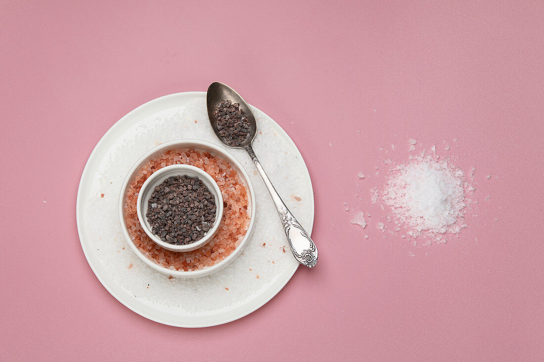 Different types of salt on pink background