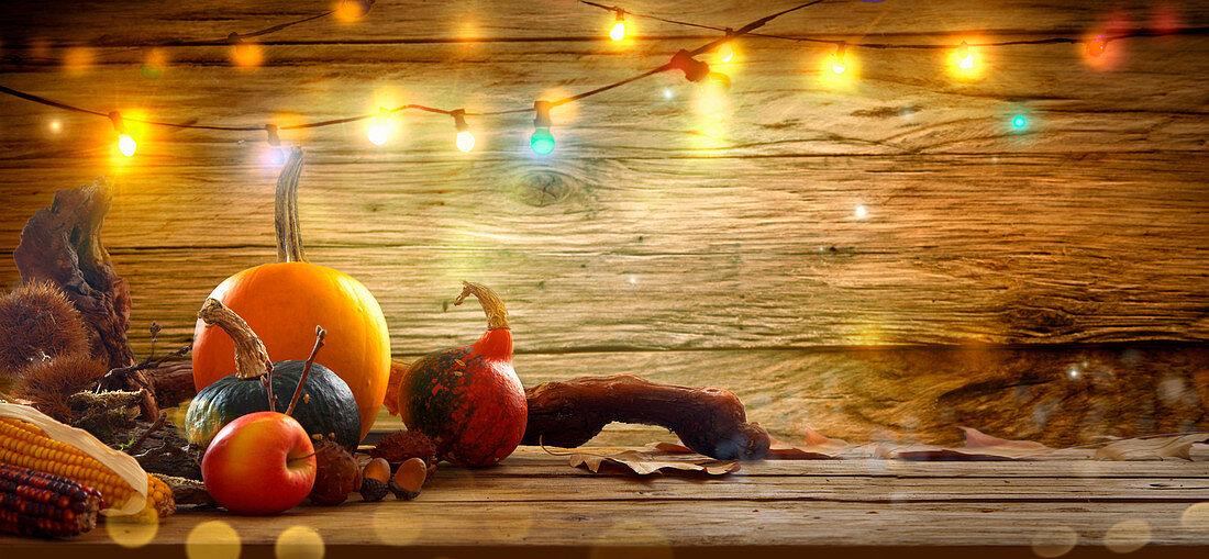 Thanksgiving background: autumn fruit on table