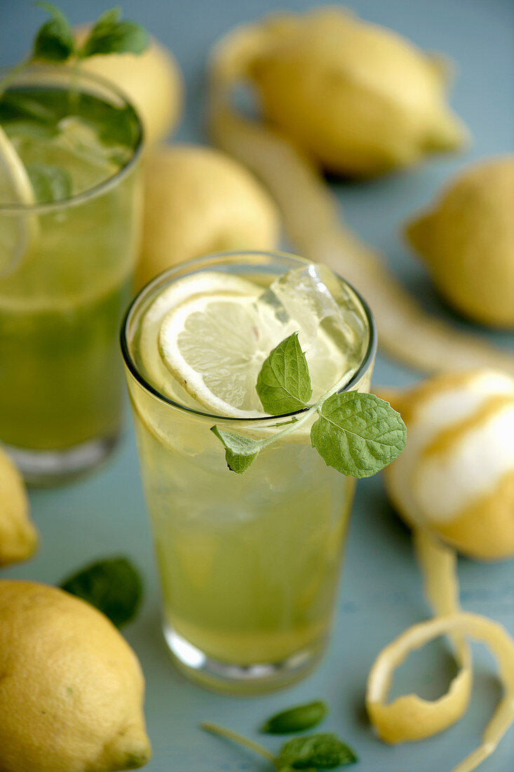 Lemonade from Crete with anis and ouzo