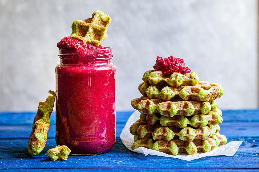 Broccoli waffles with beetroot hummus