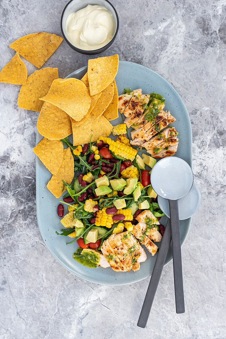 Mexican chicken and nachos salad with basil and lemon dressing