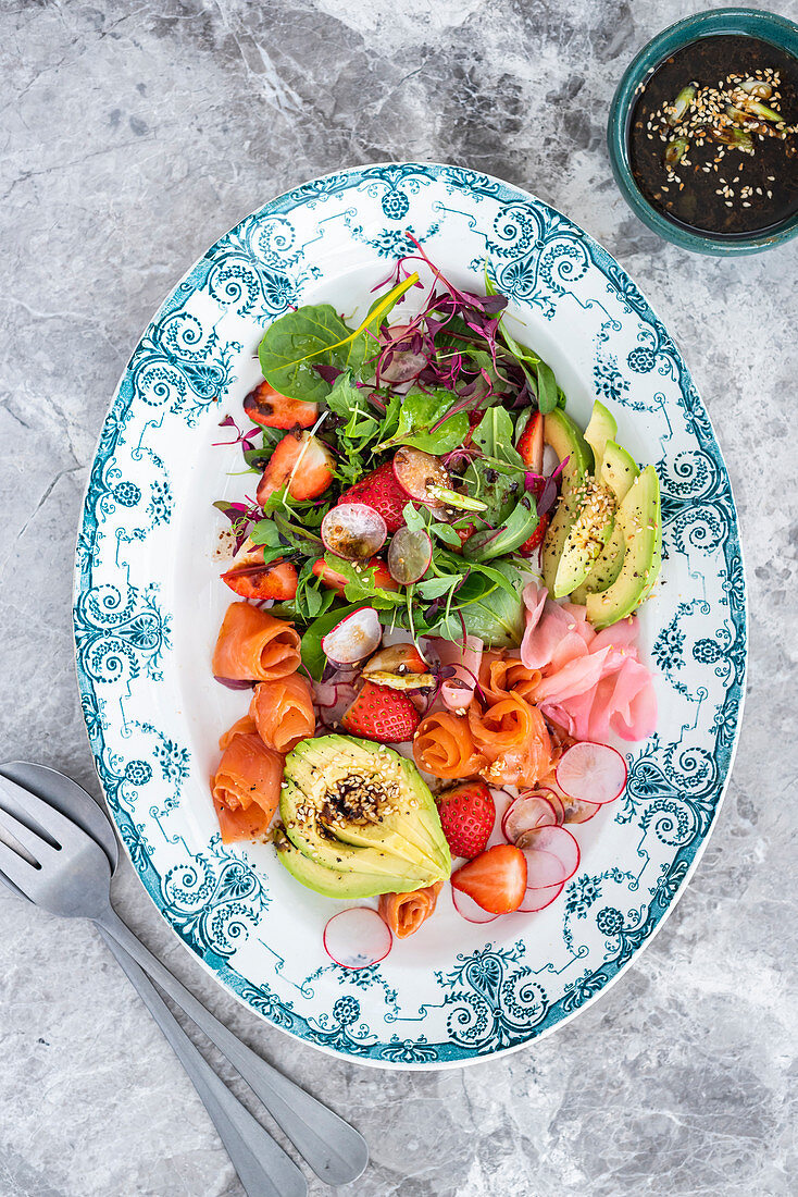 Cold-smoked trout, strawberry and pickled ginger salad with wasabi dressing