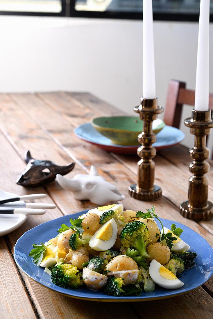 Potato, broccoli and egg salad