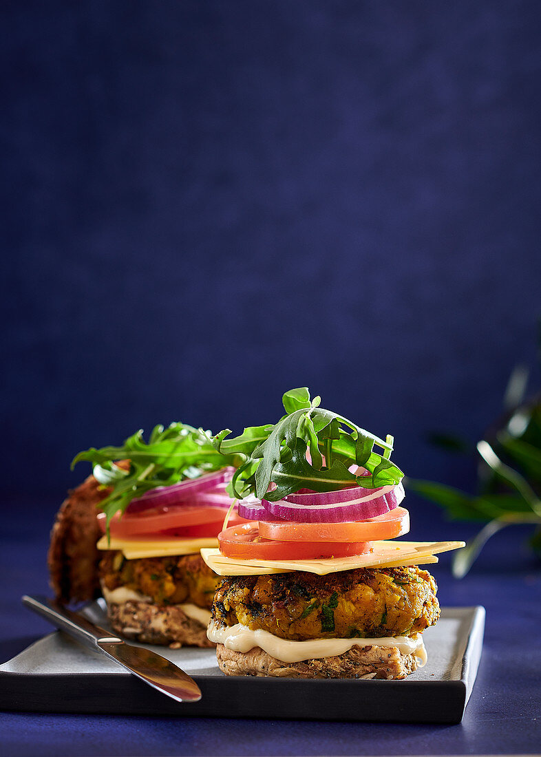 Chickpea and carrot burgers with vegan 'cheese'