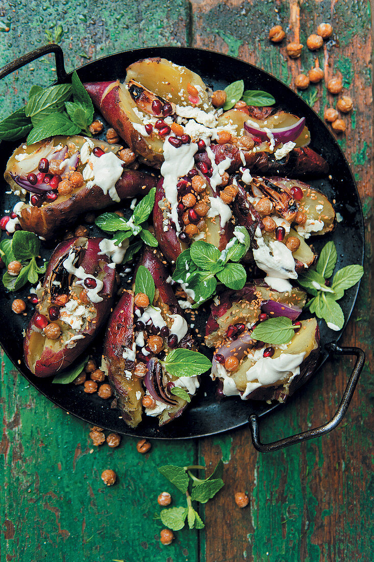 Stuffed sweet potatoes from the grill