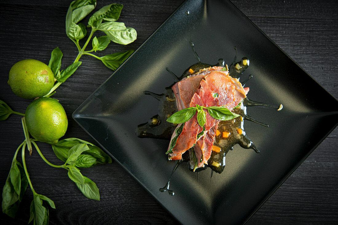 Bluefin tuna with basil ham and chicken demiglace
