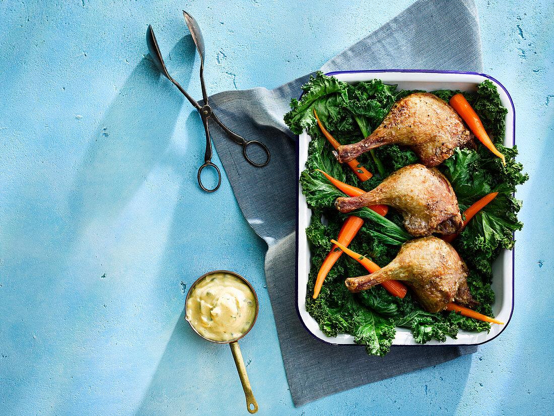 Low N Slow Roasted Duck Legs With Spring Vegetable Salad