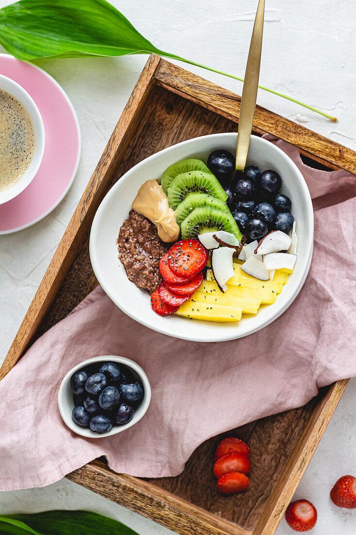 Chocolate Porridge With Fruits