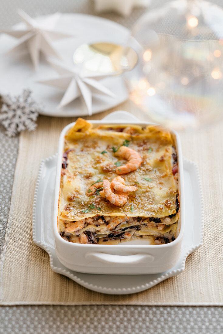 Lasagne with radicchio, prawns and bacon