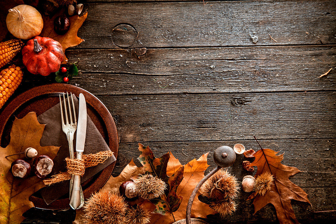 Thanksgiving dinner, autumn fruit with plate and cutlery