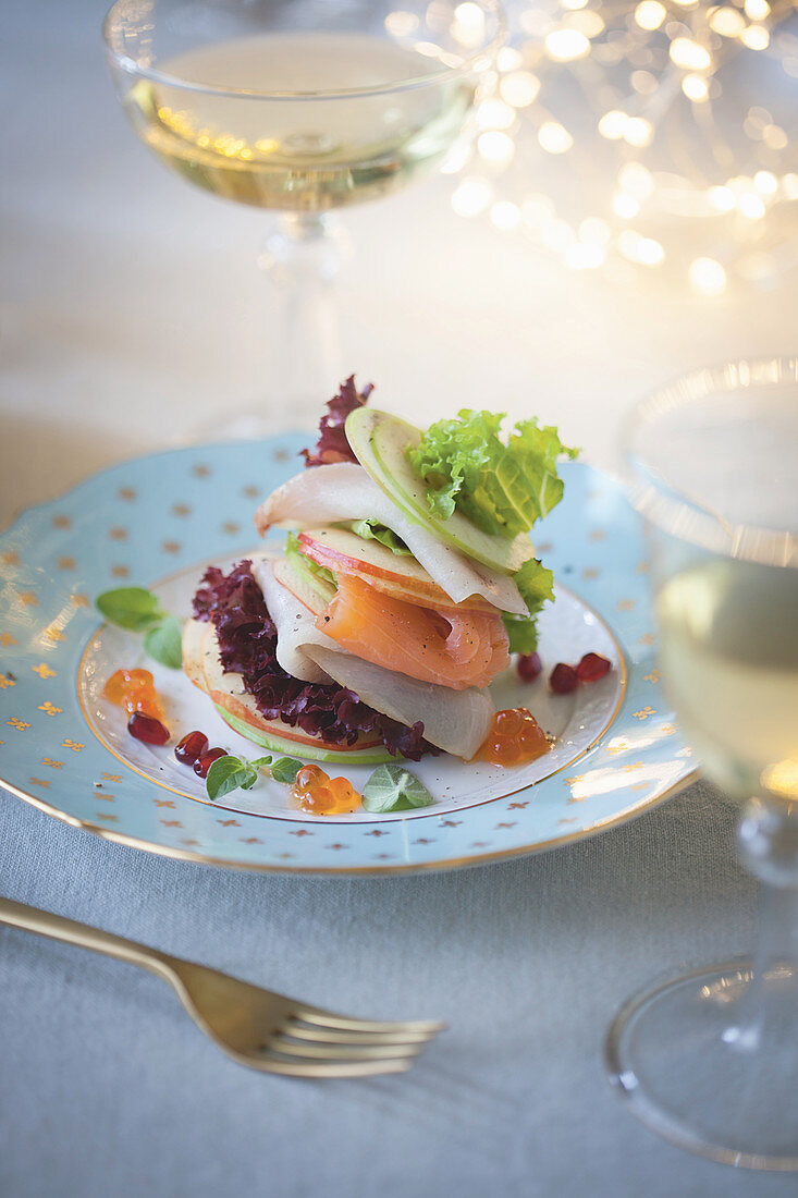 Smoked fish and apple millefeuille