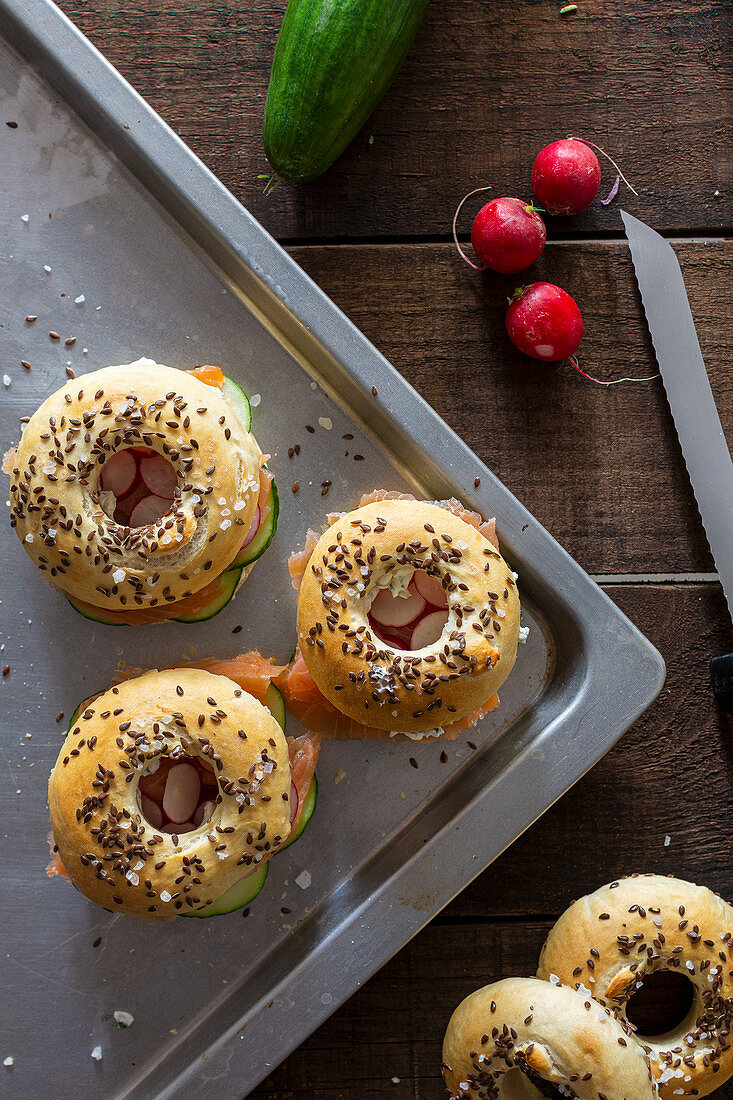 Bagels with salmon and radishes