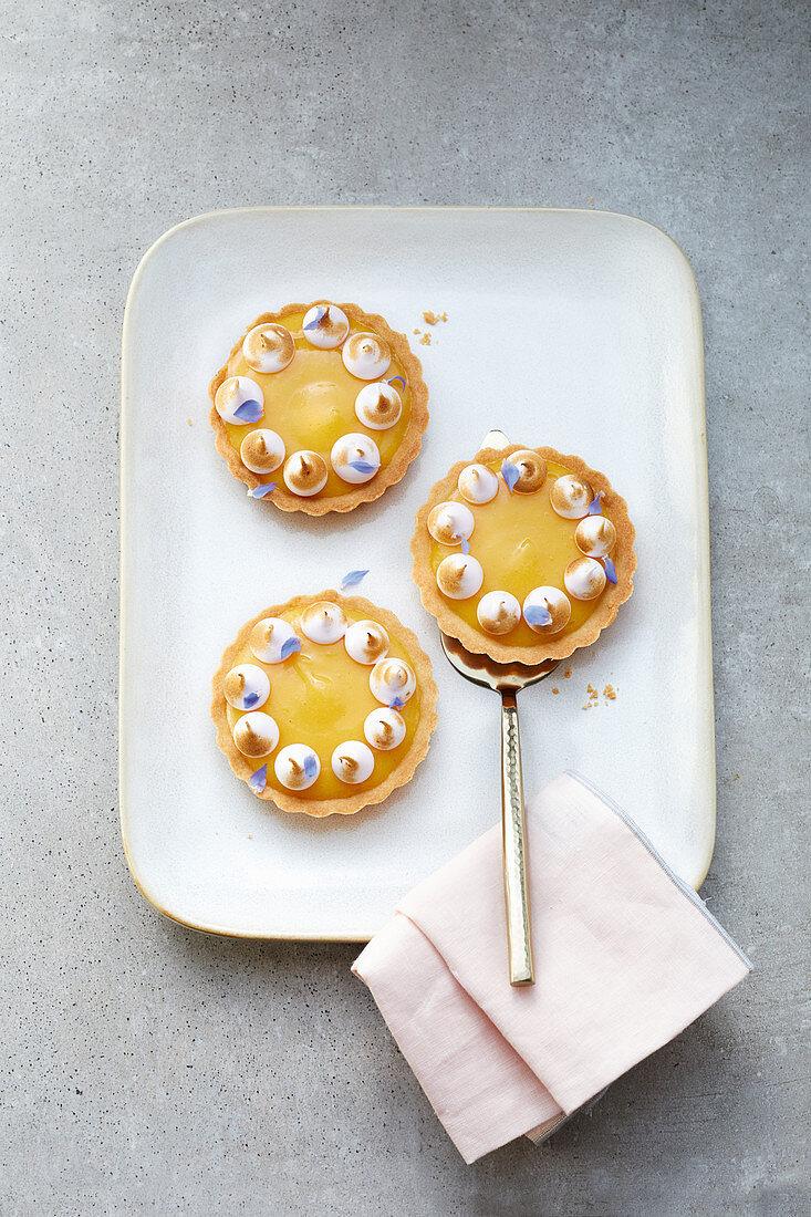 French lemon tart with meringue