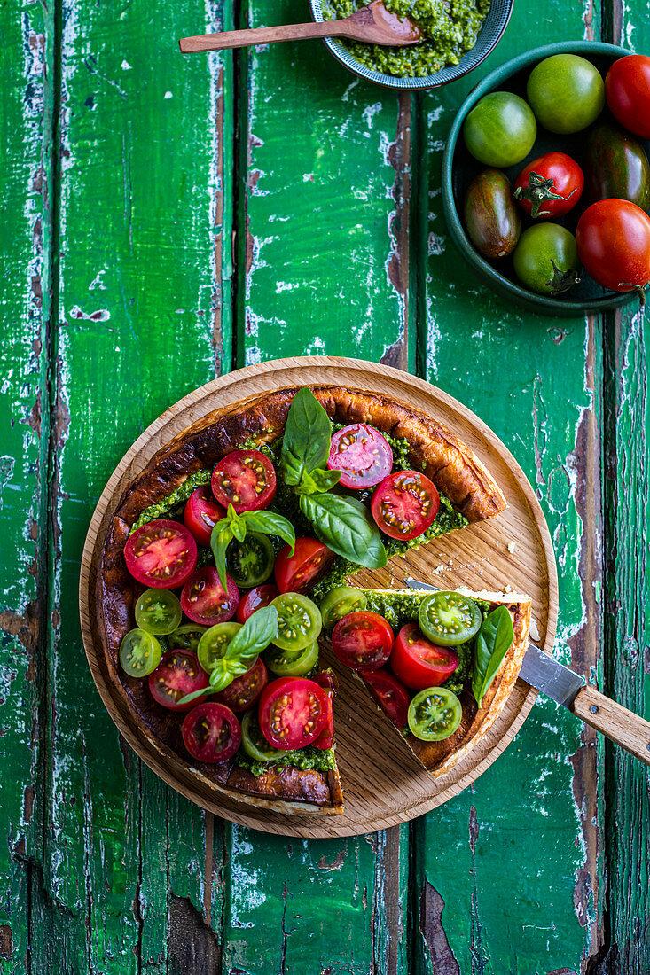 Ricotta Tart with Pesto and Tomatoes