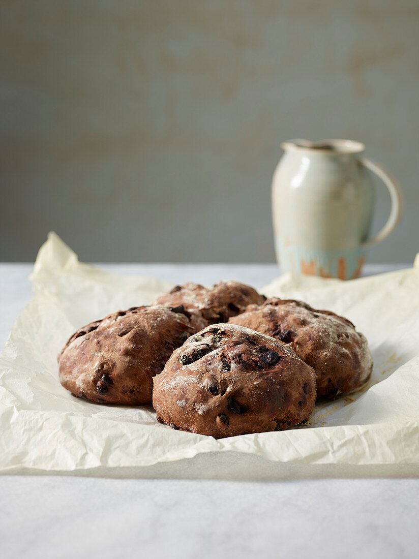 Chocolate and raisin rolls