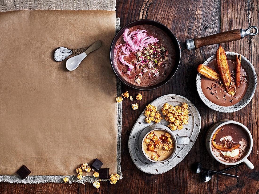 Vegan Persian Hot Chocolate, Salted caramel white chocolate, Spnaish Hot Chocolat, Spiced and spiked Hot Chocolate