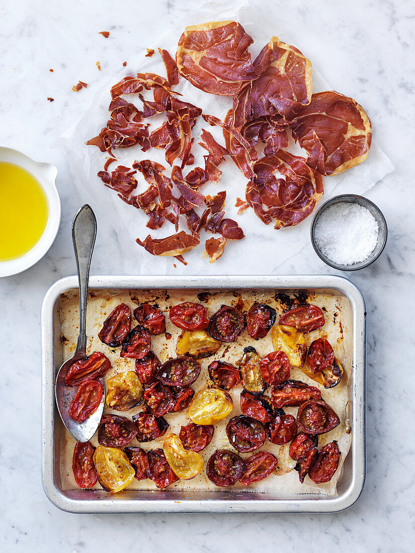 Roasted cherry tomatoes and Serrano ham