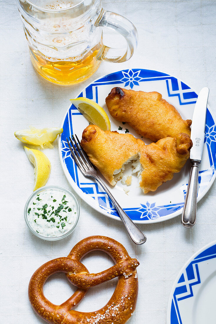Fried fish with remoulade