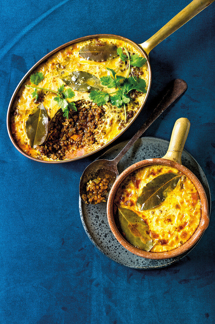 Easy lentil bobotie with