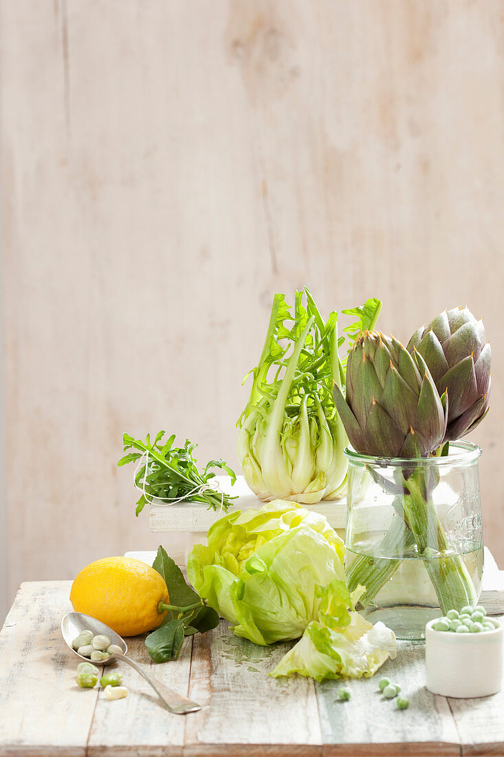 Vegetable still life with artichokes and legumes