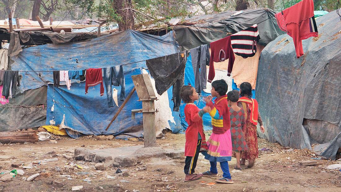 Slum in New Delhi, India