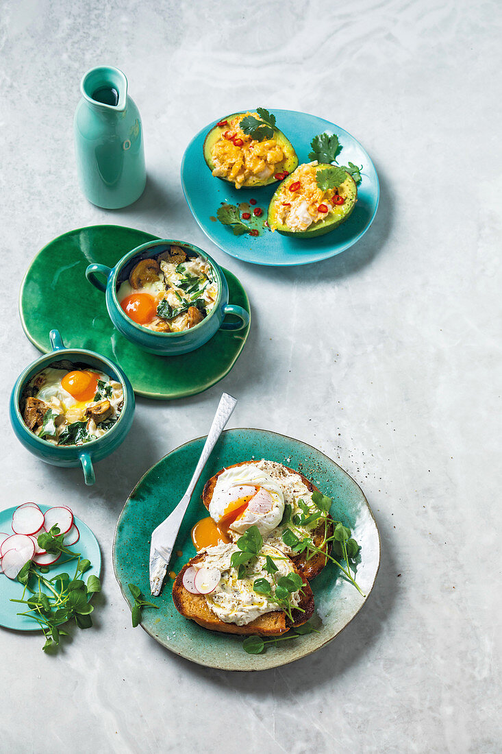Avocado cups with scrambled eggs, Egg-en-cocotte, Poached eggs on toast