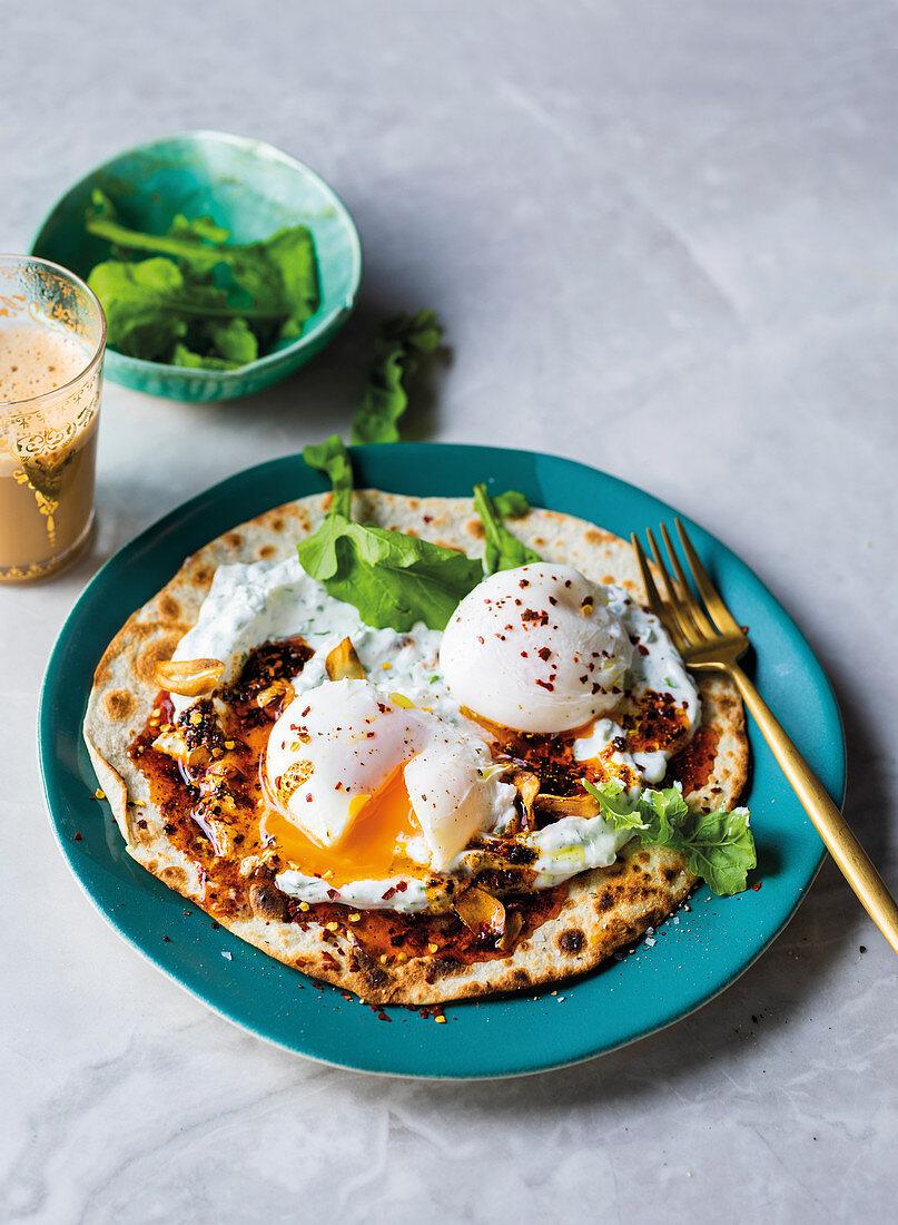 Turkish open breakfast wrap 'sunny side up'