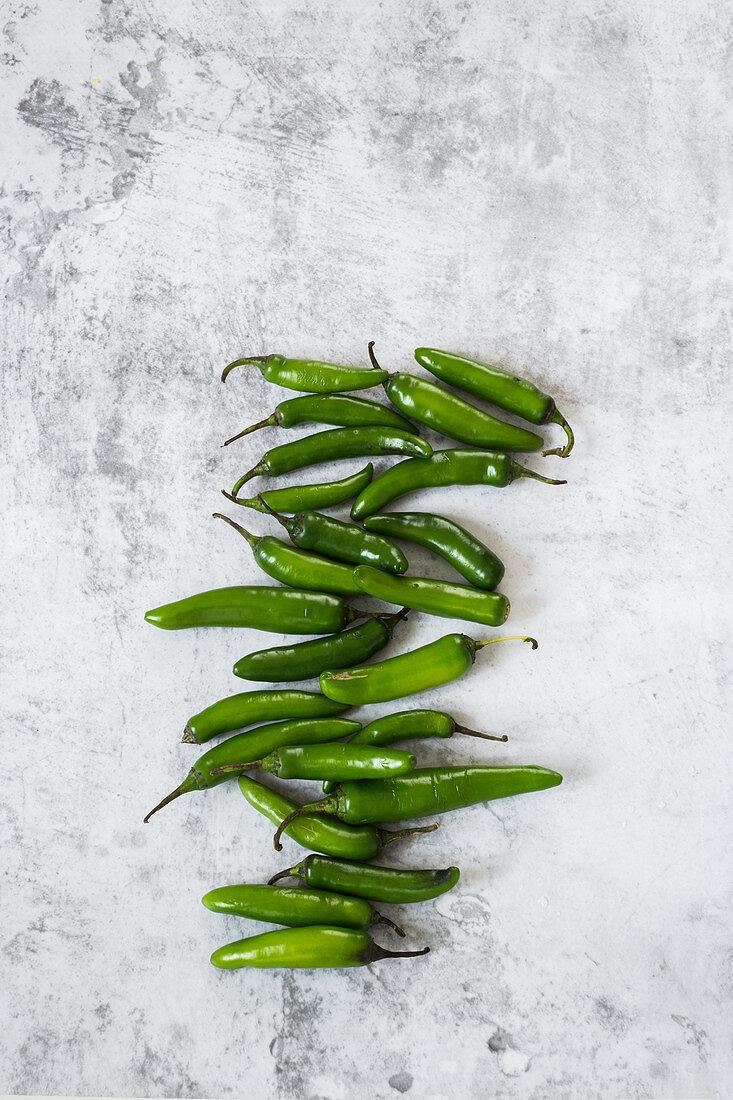 Mexican fresh chilli peppers serrano