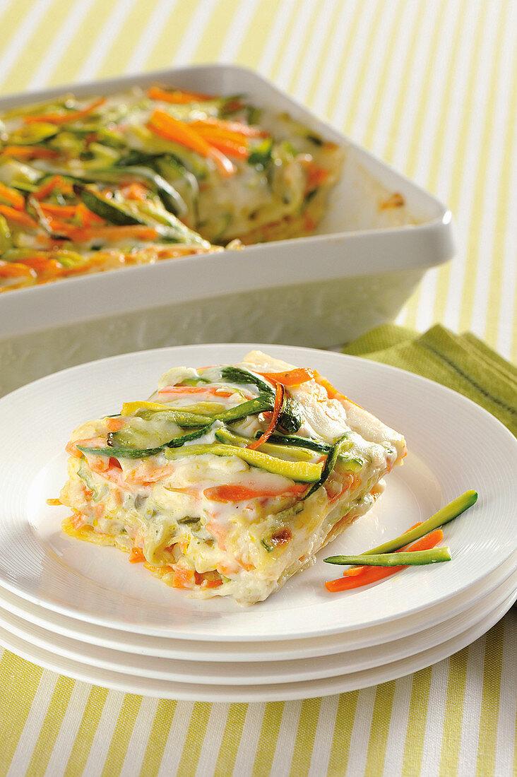 Creamy vegetable lasagna with scamorza