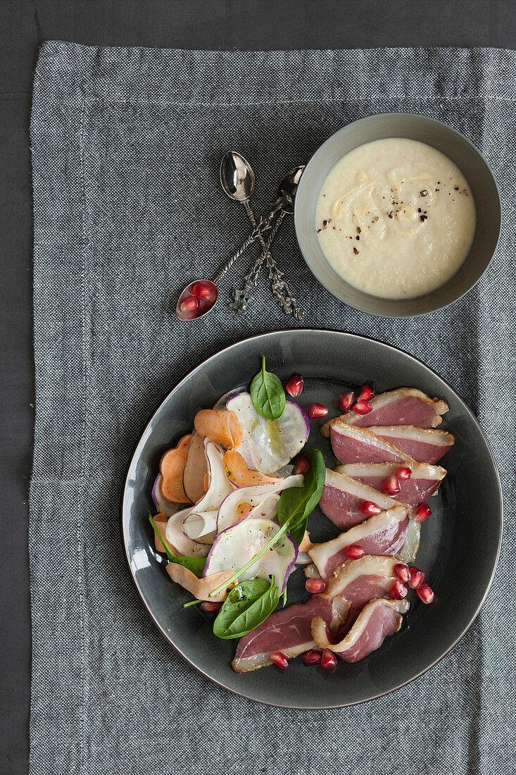 Smoked duck breast with radish salad and mustard sauce