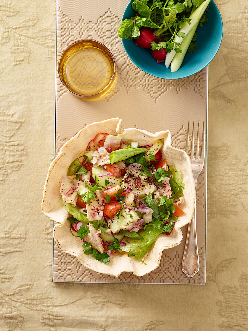 Fattoush (bread and vegetable salad, Lebanon)