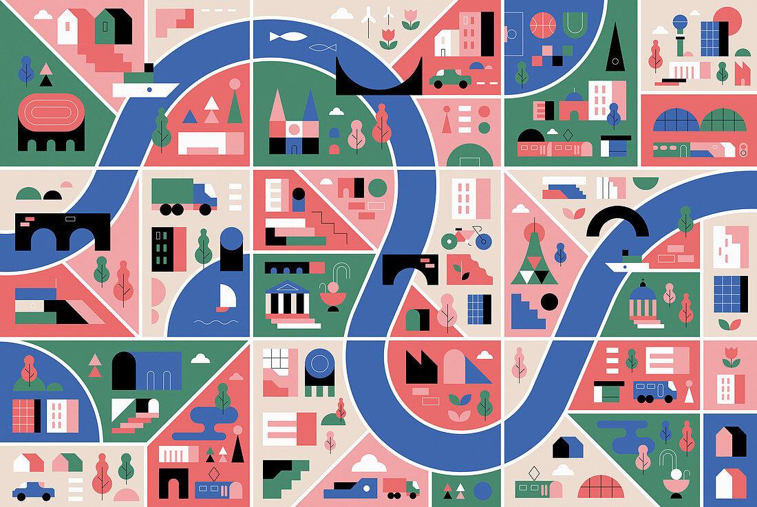 City map, illustration