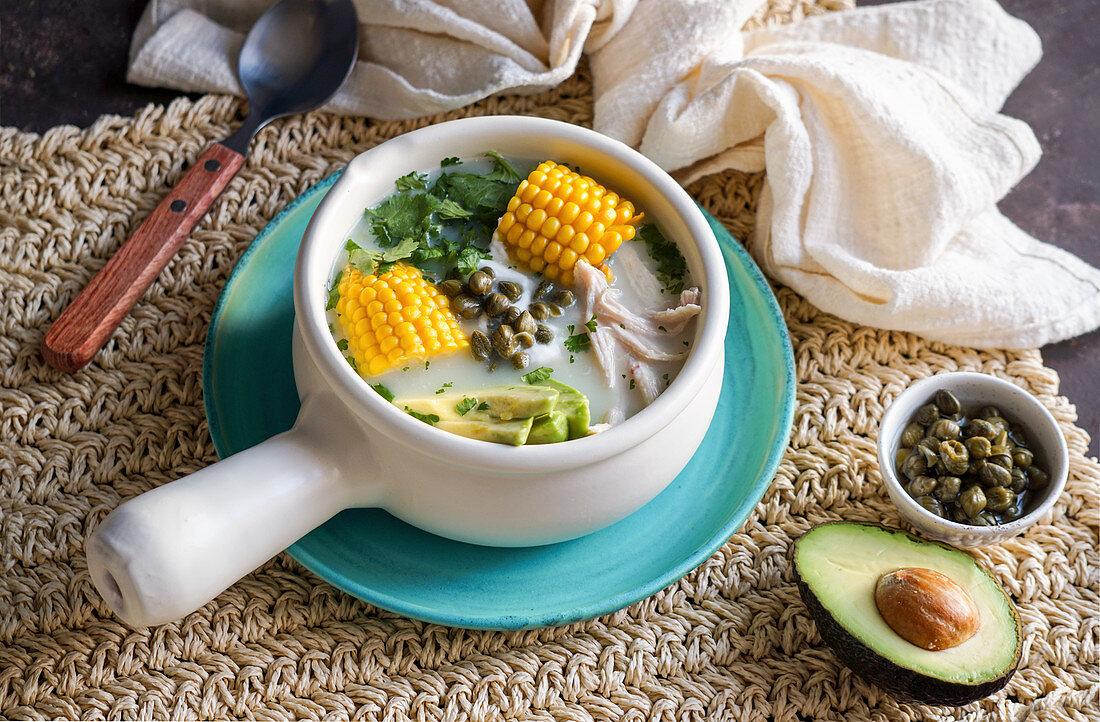 Ajiaco Colombiano - Latin American potato soup with avocado