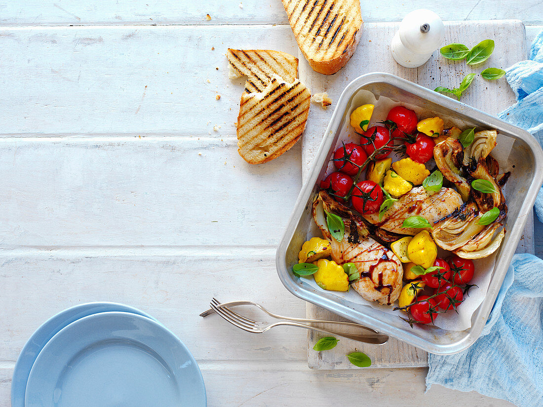 Baked Chicken Fennel, Tomato and Squash