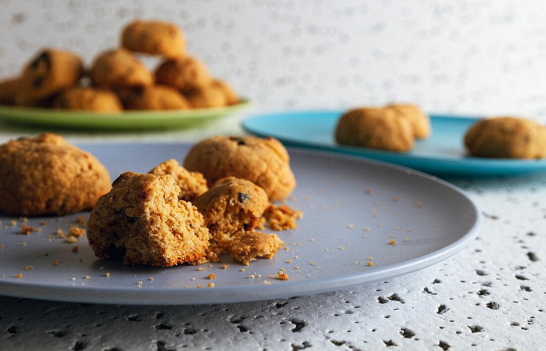 Fresh brown bitten cookies with chocolate crumbs