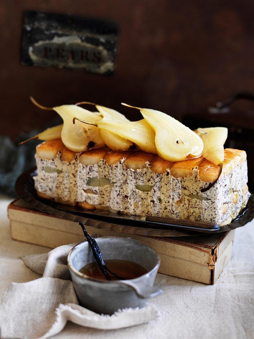 Poached Pear, Mascarpone and Dessert Wine Cake