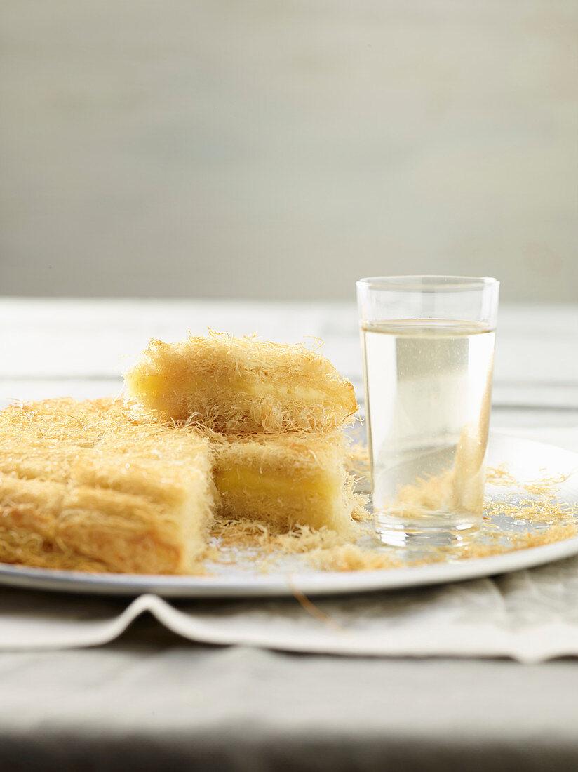 Kanafeh (dessert with kadayif, cheese and orange blossom water, Palestine)