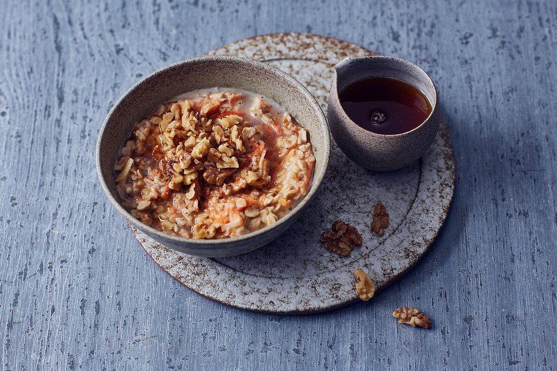Vegan carrot and nut porridge with soya milk