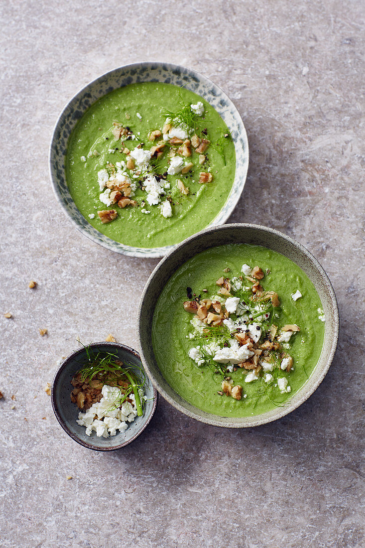 Green gazpacho with sheep's cheese