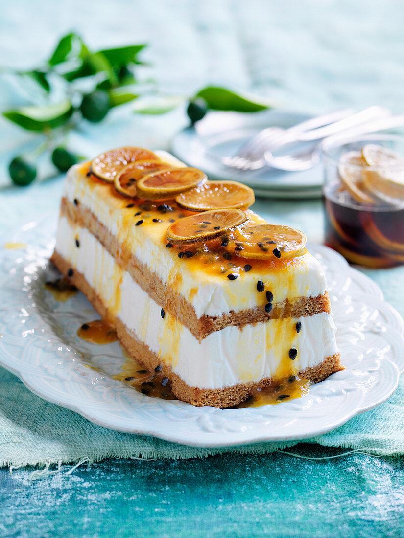 Lime, Passionfruit and Lemongrass frozen Yoghurt cake