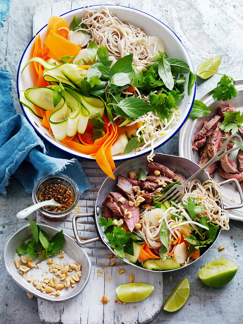 Noodle Salad with Ginger Rubbed Beef