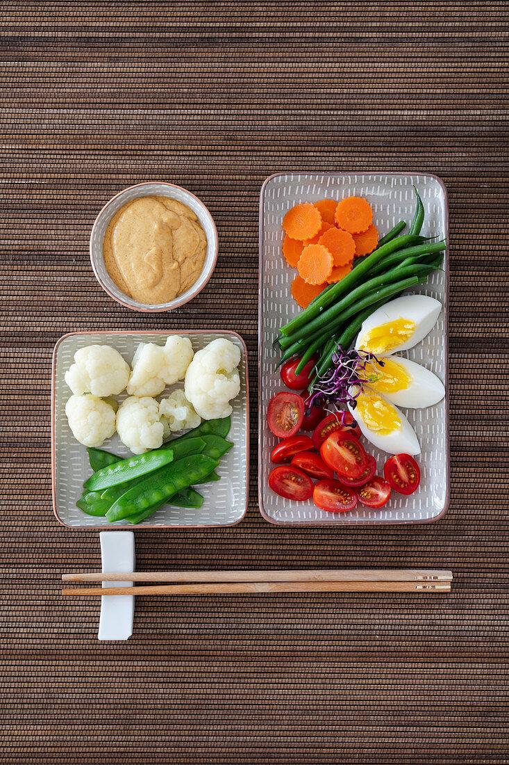 Indonesian gado-gado (fresh vegetables with peanut sauce)