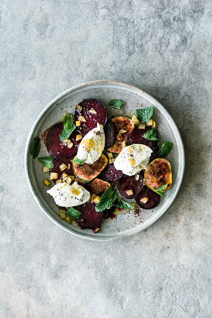 Israeli beetroot salad with labaneh and figs