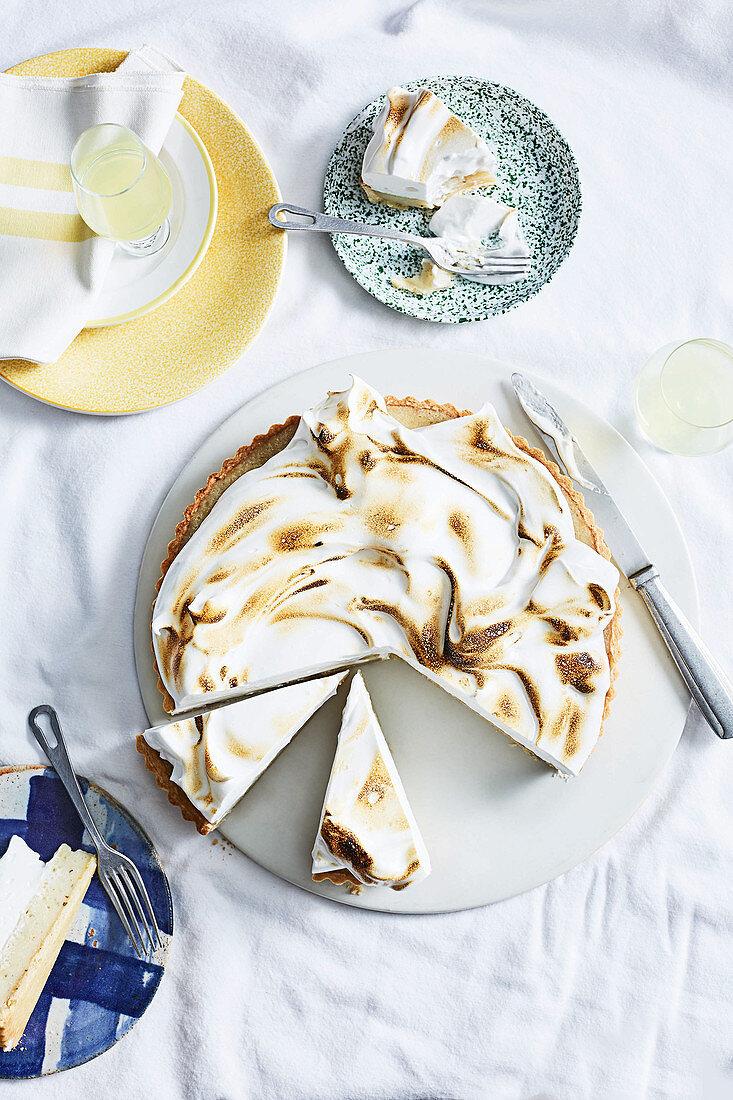 Limoncello and basil meringue pie