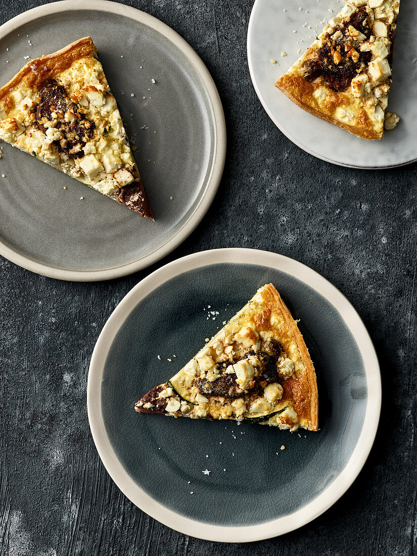 Sheep's cheese and courgette quiche with minute venison steaks