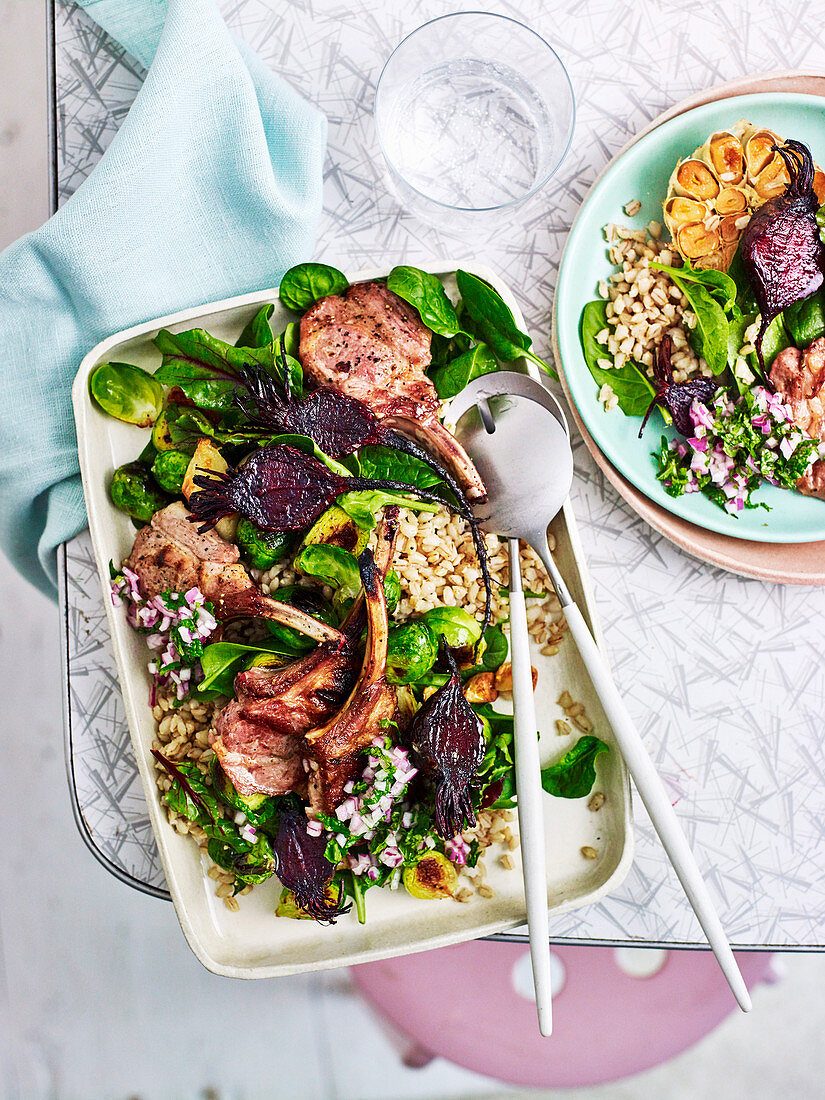 Lamb Cutlets with Barley and roast vegetables salad