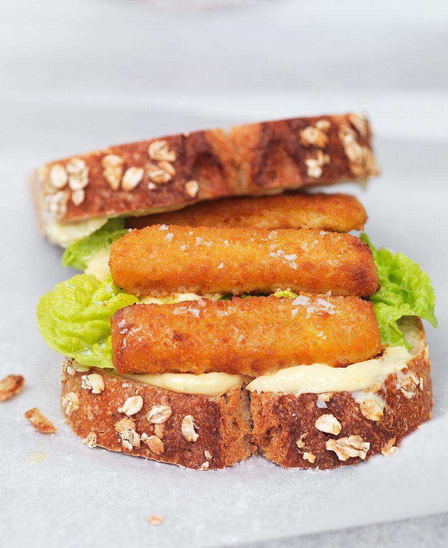 Open fish finger sandwich