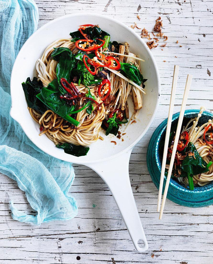 Gai Lan and Mushroom Five-spice stir-fry