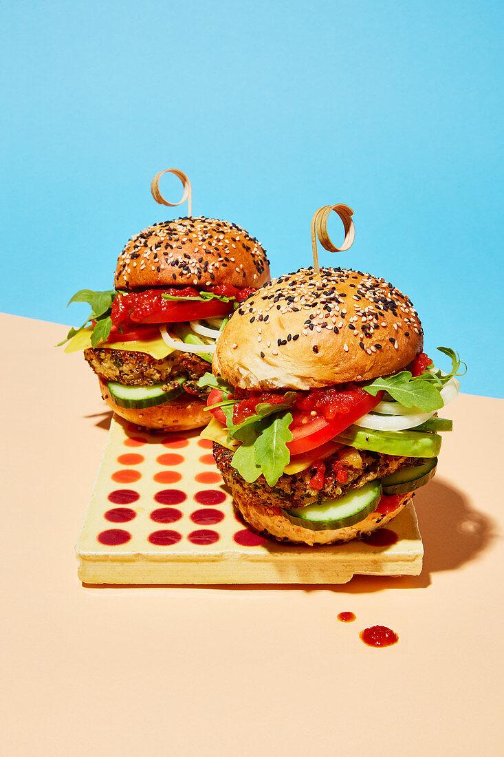 Hipster-style vegan burgers